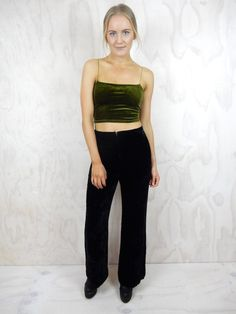 PRE-LOVED black pants. Brand / Unknown. High waisted. Crushed velvet material. Wide relaxed leg. Zipper closure at front. Fabric not indicated. Size AU 10.