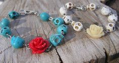 Day of the dead Bracelet Turquoise Blue Skulls by shabbyskull, $10.00