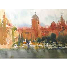 Vijay Achrekar | Watercolour on paper, Paintings, Artcafe, Kalakriti… Urban Sketching, Watercolours, Middle East, Watercolor Art, Cities, Sketches, Paintings, Indian, Inspiration
