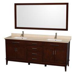 "Wyndham Collection Hatton 80"" Double Bathroom Vanity Set with Mirror & Reviews | Wayfair"