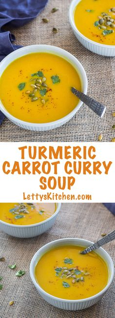 Delicious easy to make vegan turmeric carrot curry soup, made in pressure cooker. Turmeric, the spice, is rich in nutritional and medicinal health benefits.