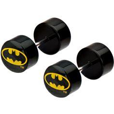 Black Acrylic Batman Logo Cheater Plug Set | Body Candy Body Jewelry