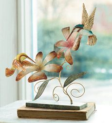 Hummingbird Duo Iron And Wood Composite Sculpture