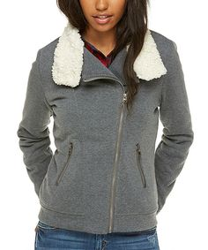 Look at this Charcoal & White Sherpa Fleece Moto Jacket on #zulily today!