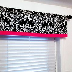 Black Damask with Hot Pink Border Curtain Valance by OldStation