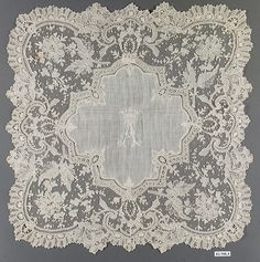 Handkerchief Date: 1875–89 Culture: French Medium: Linen, needle lace