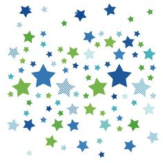 Kinderzimmer sterne blau  Kinderzimmer Wandsticker Sterne blau/grau 68-teilig | Babies ...