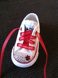 6171b4a1a235 White Low Top Bling Chuck Taylor Converse via Etsy