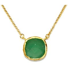 Gold Plated Sterling Silver Square Green Chalcedony Quartz Necklace ($78) ❤ liked on Polyvore featuring jewelry, necklaces, chalcedony necklace, sterling silver jewellery, chalcedony jewelry, gold plated jewellery and green jewelry