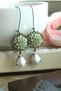 A Grey Green Dahlia Chrysanthemum Flower Opaque White by Marolsha, $20.50