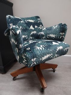 Vintage swivel reclining chair recovered in House of Hackney velvet Inferno