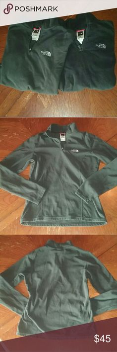 ❄2 The North Face❄Half Zip Pullovers Selling 2 Black Half Zip fleece Pullover sweatshirts!! ☆ Both have been Gently used! ☆ Both are super warm and soft! ☆ Both are 100% Polyester. ☆ Both have a half zip! ☆ No signs of stains, rips or pulls!  Only small Pilling i notice is on the inside of one of the sweatshirts. ☆ One sweatshirt does seem to be a little darker shade of black than the other! ☆ Absolutely love these sweatshirts!! I hate the fact they no longer fit me! The North Face Tops…