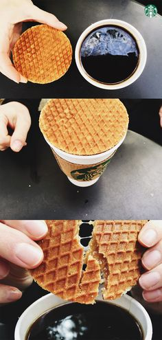 How to enjoy your Rip van Wafels: Warm your wafel on top of your favorite cup of Starbucks coffee. Wait patiently. Break apart, dip and enjoy!