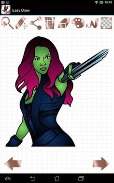 "With Easy Draw: Galaxy Guardians application you will draw Gamora, Korath, Nebula or Ronan very easy and very similar to original.""Easy Draw"" apps are developed to help people to draw some things that they really want to draw. All what you have to do is to get a proper app and to find an object you want to draw. It could be anything starting with drawing a flower, a tree, drawing a stick man and finishing even with such difficult drawings as how to draw cartoons characters or how to draw ..."