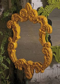 Finely Yellow Baroque Wall Mirror - In a canary yellow baroque style frame, the Finely wall mirror adds a vintage style to any space. IMAX exclusive!