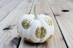 Paint pumpkins white, then sprinkle on glitter