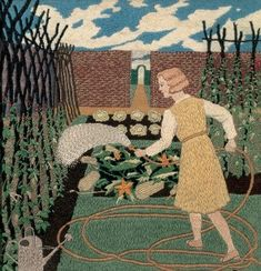 Enchanting Embroidery    Tirzah Garwood | Vegetable Garden | needlework wool embroidery c.1933