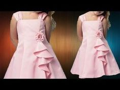 DIY Designer Cascading Ruffled Baby Frock Full Tutorial - YouTube Baby Frocks Party Wear, Baby Girl Frocks, Frocks For Girls, Gowns For Girls, Girls Frock Design, Kids Frocks Design, Baby Frocks Designs, Baby Dress Design, Baby Frock Pattern