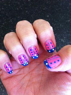 Zoya Shelby And China Glaze Blue Lagoon with Striping tape nail mani ladybugs