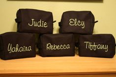 5 Personalized Full Name Monogrammed Make-up Cosmetic Bag Cotton Waffle Weave Wedding Gift Bridesmaid Gift on Etsy, $68.87 CAD