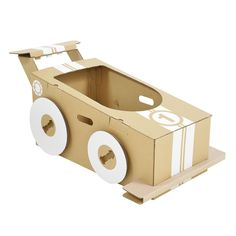 Little Racer is foldable cardboard racing car. A strong cardboard toy for kids to create and decorate. Pop it together, draw, paint and play. Hop in and hold on. Ready, steady.. GO! Flat pack it to store and take on your travels.