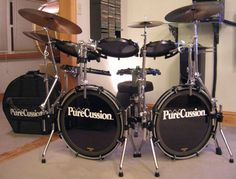 Purecussion (now Arbiter Flatz) drums sounding freaking' GREAT- no shells, full sound. Want these for The Kit......