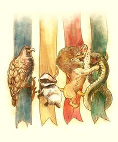 Gryfindor and slytherin are figting, ravenclaw is anoyed, hufflepuff is concerned