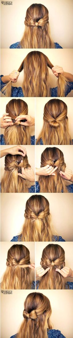 How to make a half up half down bow hairstyle!