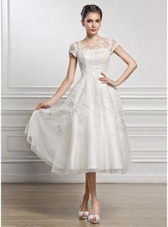 A-Linie/Princess-Linie U-Ausschnitt Wadenlang Tüll Spitze Brautkleid mit Perlen verziert Pailletten
