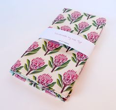 Protea Napkins – Pink from Summer Tabletop Napkins Set, Online Gifts, Pin Cushions, Decorative Items, Pink And Green, Tea Party, Handmade Gifts, Pretty, Print Ideas
