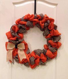 HALLOWEEN Looped Black Chevron and Orange Burlap Fall Wreath on Etsy, $58.00