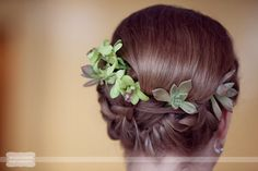 Great idea for succulents in bride's hair... Up do with small succulents, this is so magical and forest sprite looking!  From a rustic wedding we shot at the Columbia Country Club in Missouri...  #succulenthair #succulentwedding #wildflowerphotography