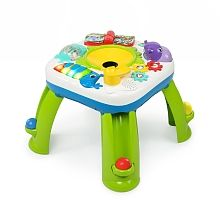 Add a new element of fun to your baby's play session with the Bright Starts Having A Ball Get Rollin Activity Table. With spiraling ball ramps at each leg, this table features colorful animals, 4 languages and over 60 songs and activities. Toddler Toys, Baby Toys, Toddler Daycare, Activity Toys, Activities, Activity Tables, Toys For 1 Year Old, Toys R Us Canada, Piano Keys