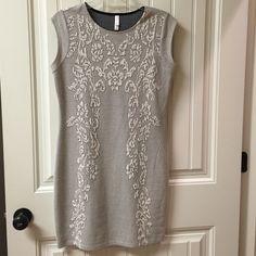 Xhilaration Dress Women's Grey with white floral pattern, sleeveless. Bodycon type of dress. Beauty Xhilaration Dresses