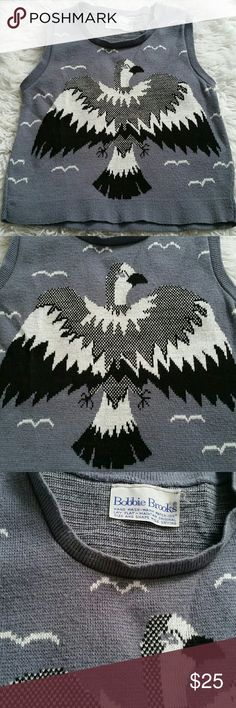 Vintage bird sweater vest Great condition. Grey, white, and black vintage Thunderbird sweater vest made by Bobbie Brooks. bobbie brooks Tops