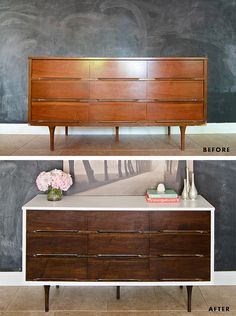 Before & After Mid Century Modern Dresser with instructions for painting and painting veneer furniture Source by amberwillscasa Decor, Furniture Makeover, Home Diy, Furniture Rehab, Diy Furniture, Painted Furniture, Redo Furniture, Home Decor, Refinishing Furniture