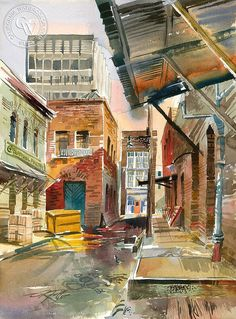 Ken Potter - Ceylon Street, 1962, California art, original California watercolor art for sale, fine art print for sale, giclee watercolor print - CaliforniaWatercolor.com