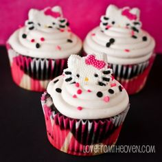 Zebra Striped Cupcakes Topped With Hello Kitty....my heart just skipped a beat...love these