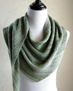 Just a little bit of texture adorns this asymmetrical green shawl, knitted from side to side. Find the pattern at LoveKnitting.Com