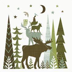 Forest Folklore Green Animals 2 - Fotobehang
