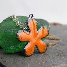 enamel pendant...  flower...  ART... Apr 04 by CoolVintage on Etsy, $15.50