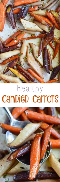 Enjoy your favorite holiday side dish without the guilt. These Healthy Candied Carrots are roasted with olive oil, maple syrup and thyme. Sweet and salty roasted carrots will be a new family favorite! Vegan, Vegetarian HouseExperts ad