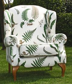'Dublin' Queen Anne Chair in GP & J Baker Fern Fabric