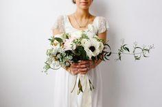 Black an White Wild Anemone Bouquet | Mandi Nelson Photography