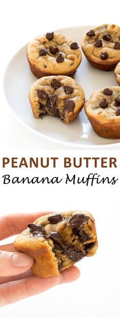 Flourless Peanut Butter Banana Muffins. Made in the blender with only a few ingredients!
