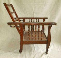 Heywood Wakefield Morris Chair Antique Dark Oak Childs Original Arts and Craft #Morrischair