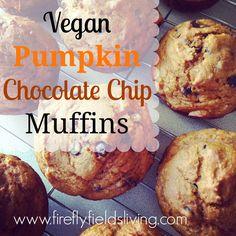 Vegan Pumpkin Chocolate Chip Muffins~ using Cinnamon essential oil! www.fireflyfieldsliving.com