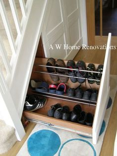 shoes under the stairs- smart idea! You could have shoes pull out in the lower stairs, and a open up closet in the taller spaces for coats? (if near the front door or main entry of a home) Staircase Storage, Stair Storage, Closet Storage, Storage Drawers, Storage Spaces, Hidden Storage, Closet Organization, Storage Ideas, Shoe Rack Furniture