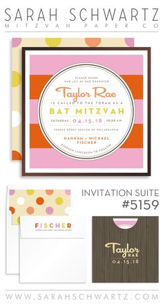 A modern pink and orange Bat Mitzvah invitation suite with polka dots