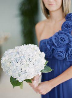 Blue hydrangea bouquet by Botanica  #wedding #weddingflowers #Botanica